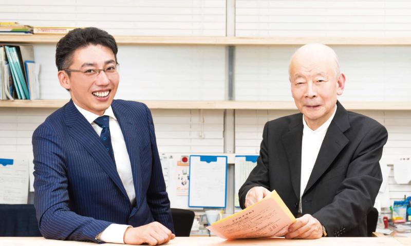 Photo of the President, Yukio Saito and the Secretary General, Masayuki Tokimori